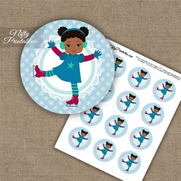 Ice Skater Girl - African American - Cupcake Toppers