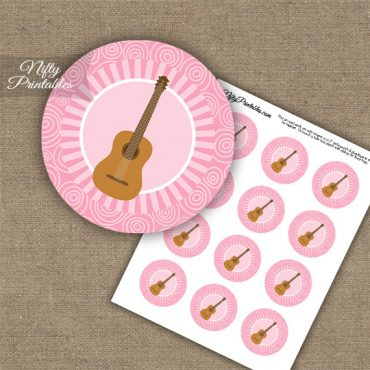Acoustic Guitar Music Swirl Cupcake Toppers - Pink