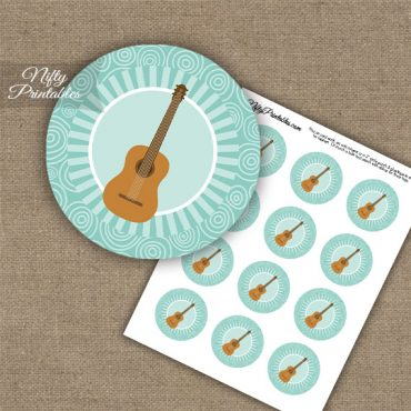 Acoustic Guitar Music Swirl Cupcake Toppers - Turquoise