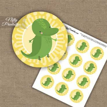 Cute Alligator Yellow Cupcake Toppers