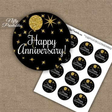 Anniversary Cupcake Toppers - Balloons Black