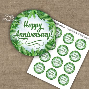 Anniversary Cupcake Toppers - Greenery