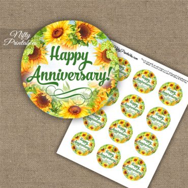 Anniversary Cupcake Toppers - Sunflowers