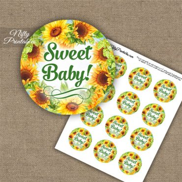 Baby Shower Cupcake Toppers - Sunflowers