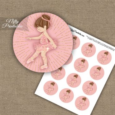 Pink Ballet Girl Cupcake Toppers