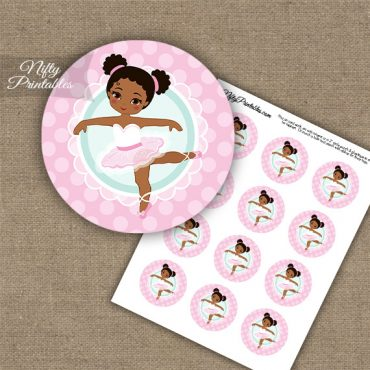 Pink Ballerina - African American - Cupcake Toppers