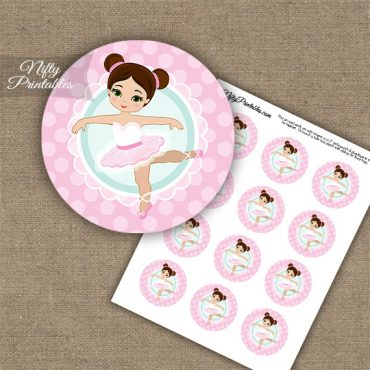 Pink Ballerina -Brunette Hair - Cupcake Toppers