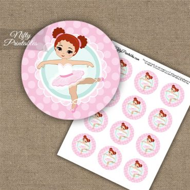 Pink Ballerina -Red Hair - Cupcake Toppers
