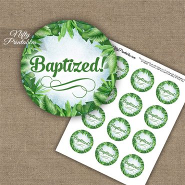 Baptism Cupcake Toppers - Greenery