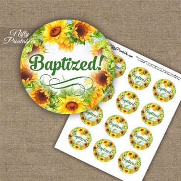 Baptism Cupcake Toppers - Sunflowers