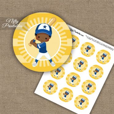 Baseball Boy African American Cupcake Toppers