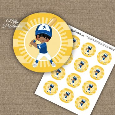 Baseball Boy Black Hair Cupcake Toppers