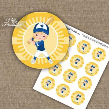 Baseball Boy Blonde Hair Cupcake Toppers
