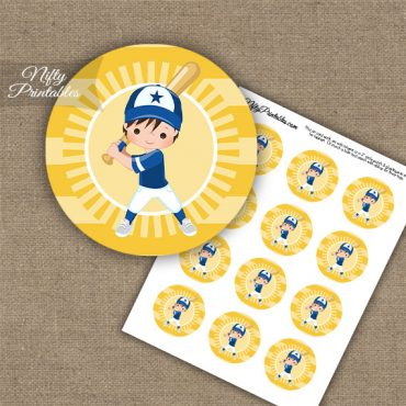 Baseball Boy Brown Hair Cupcake Toppers