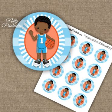 Basketball Boy Blue African American Cupcake Toppers