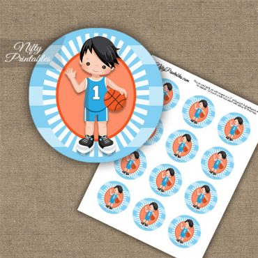 Basketball Boy Blue Black Hair Cupcake Toppers