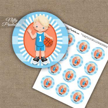 Basketball Boy Blue Blonde Hair Cupcake Toppers