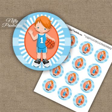 Basketball Boy Blue Red Hair Cupcake Toppers