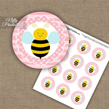 Bumble Bee Polka Dot Cupcake Toppers