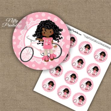 Bicycle Girl African American Cupcake Toppers
