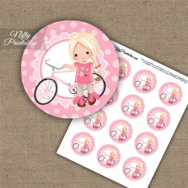 Bicycle Girl Blonde Hair Cupcake Toppers