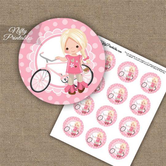 Bicycle Girl Blonde Hair Cupcake Toppers