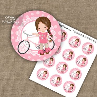 Bicycle Girl Brown Hair Cupcake Toppers