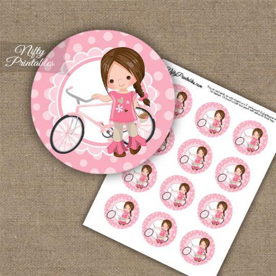 Bicycle Girl Brown Hair Cupcake Toppers
