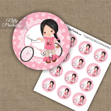 Bicycle Girl Dark Hair Cupcake Toppers