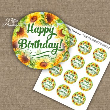 Birthday Cupcake Toppers - Sunflowers