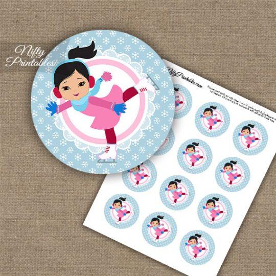 Ice Skater Girl -Black Hair - Cupcake Toppers