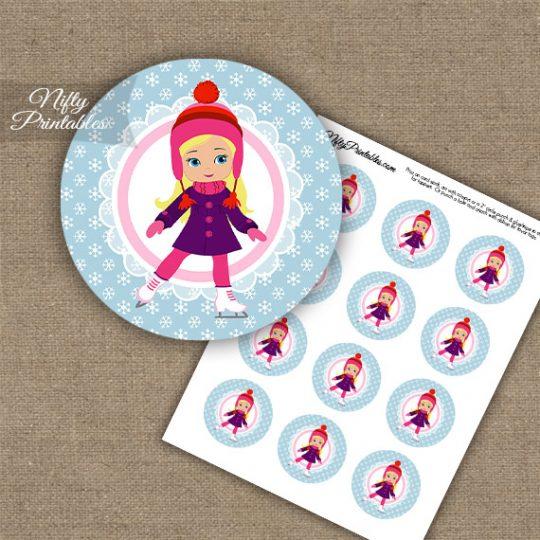 Ice Skater Girl -Blonde Hair - Cupcake Toppers