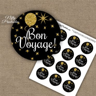 Bon Voyage Cupcake Toppers - Balloons Black