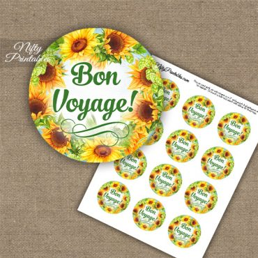 Bon Voyage Cupcake Toppers - Sunflowers