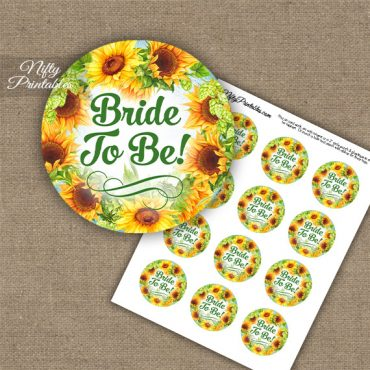 Bridal Shower Cupcake Toppers - Sunflowers