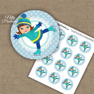 Ice Skater Girl -Brunette Hair - Cupcake Toppers