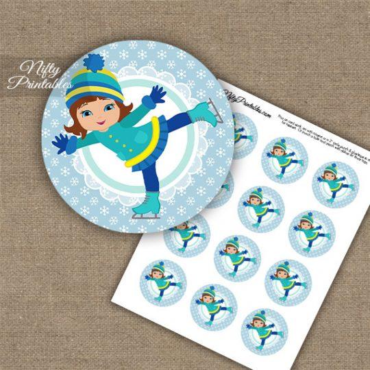 Ice Skater Girl -Brunette Hair - Cupcake Toppers