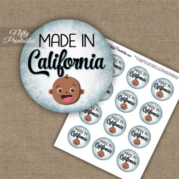 California Black Baby - Blue Cupcake Toppers