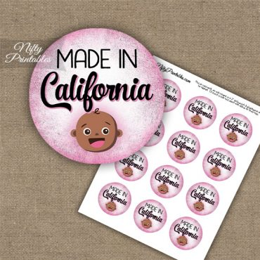 California Black Baby - Pink Cupcake Toppers