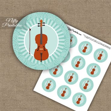 Cello Music Swirl Cupcake Toppers - Turquoise
