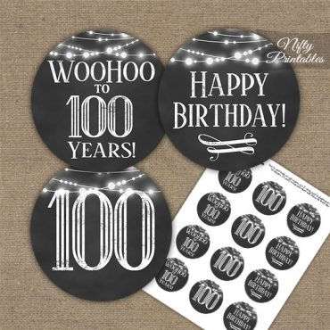 100th Birthday Cupcake Toppers - Chalkboard Lights