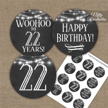 22nd Birthday Cupcake Toppers - Chalkboard Lights