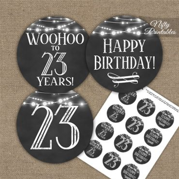 23rd Birthday Cupcake Toppers - Chalkboard Lights