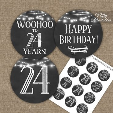 24th Birthday Cupcake Toppers - Chalkboard Lights