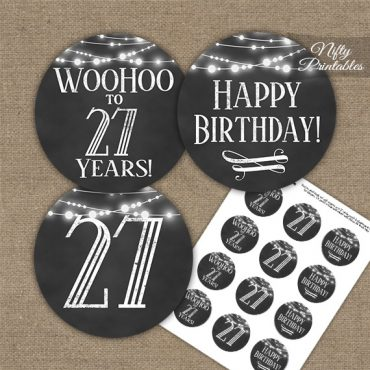 27th Birthday Cupcake Toppers - Chalkboard Lights