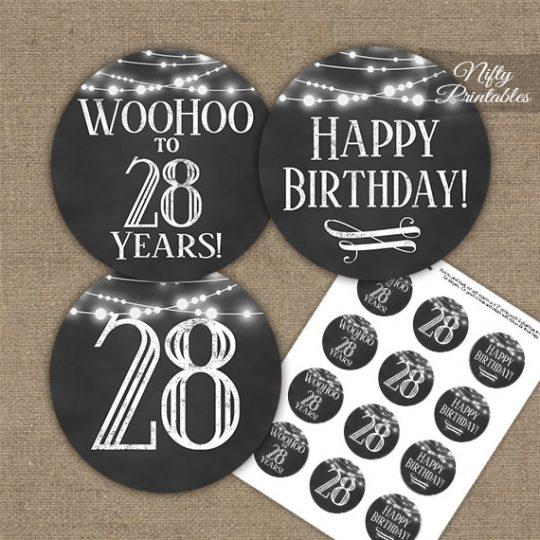 28th Birthday Cupcake Toppers - Chalkboard Lights