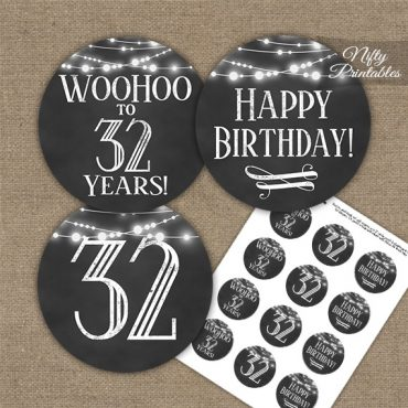 32nd Birthday Cupcake Toppers - Chalkboard Lights