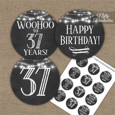 37th Birthday Cupcake Toppers - Chalkboard Lights