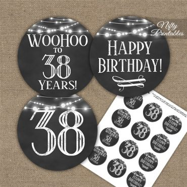 38th Birthday Cupcake Toppers - Chalkboard Lights