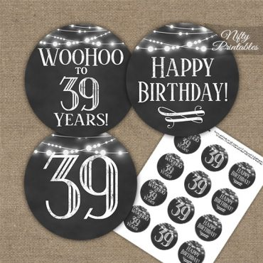 39th Birthday Cupcake Toppers - Chalkboard Lights
